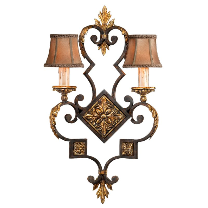 Fine Art Lamps 234350ST Castile Two-Light Wall Sconce with Hand-Sewn