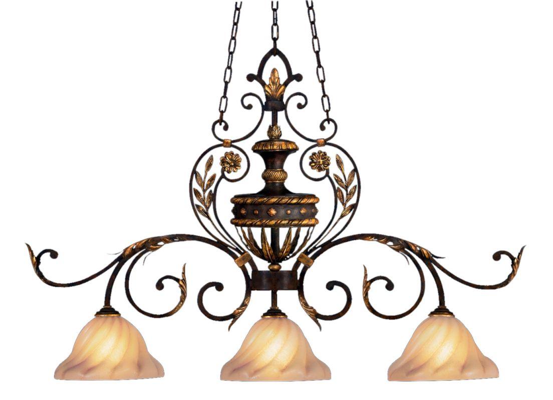 Fine Art Lamps 237140ST Castile Three-Light Linear Chandelier with