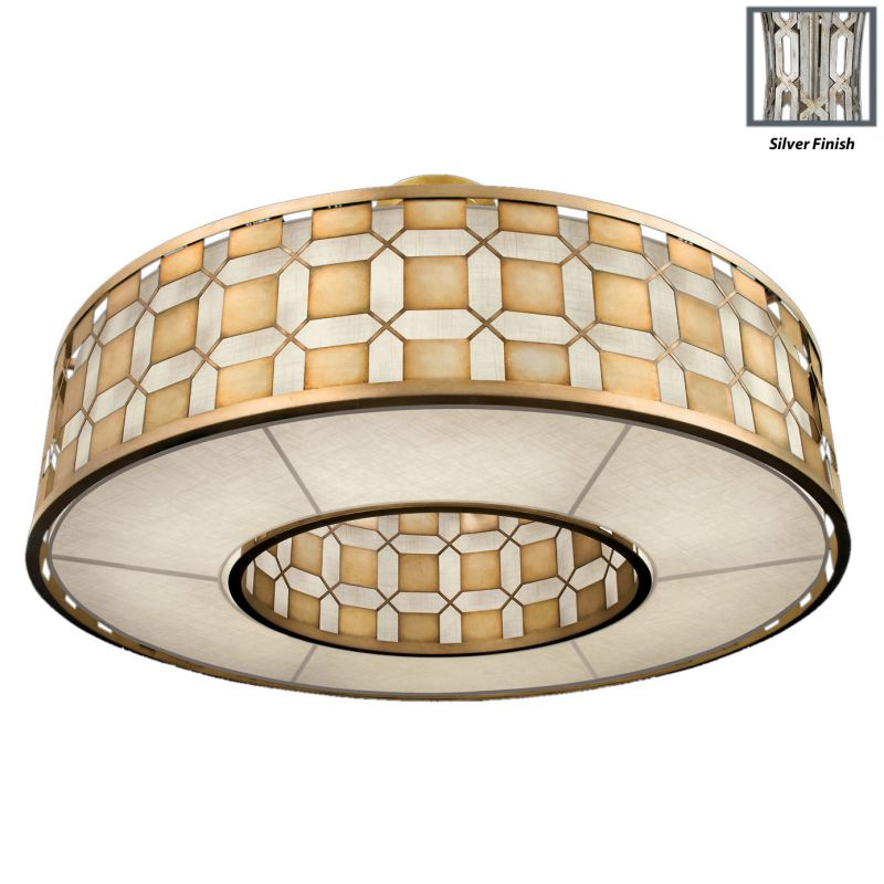 "Fine Art Lamps 787840GU Allegretto Silver 61"" Diameter Six-Light Drum"