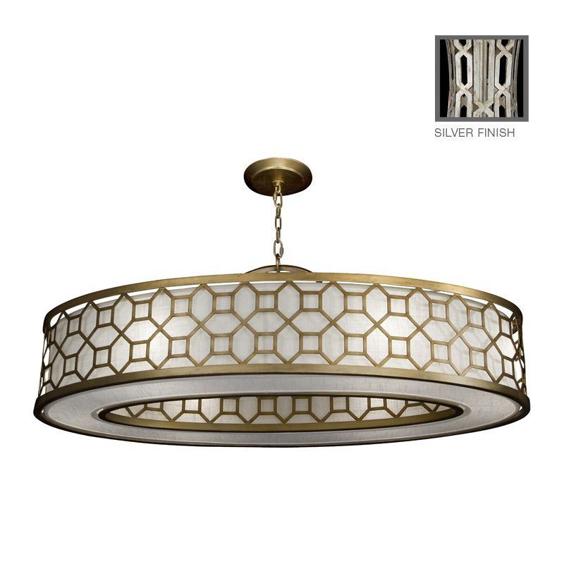 "Fine Art Lamps 816640GU Allegretto Silver 45"" Diameter Six-Light Drum"