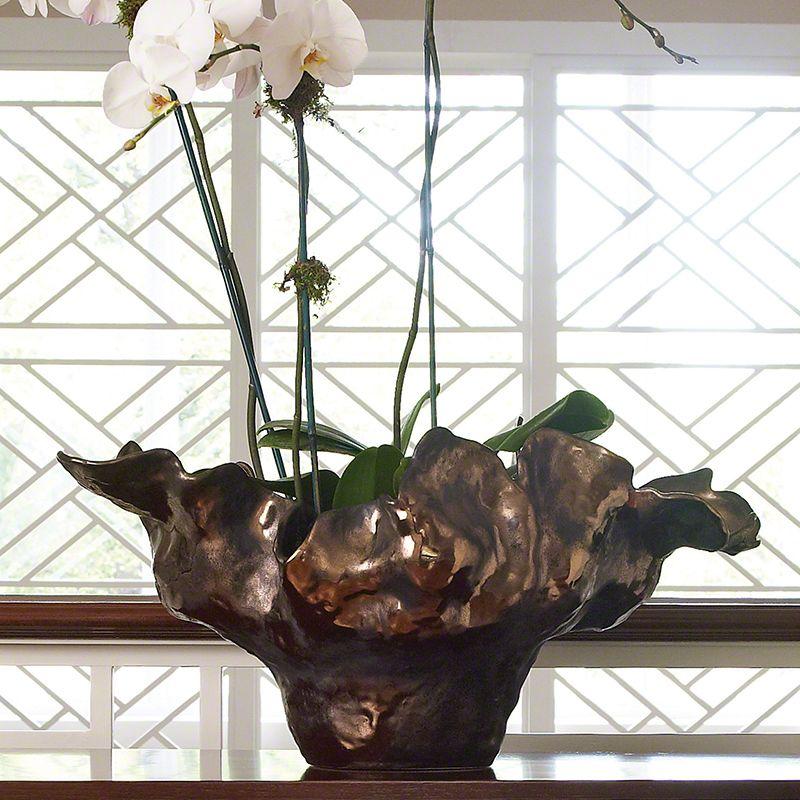 Global Views 1.10029 Meteor Large Decorative Ceramic Bowl in Bronze