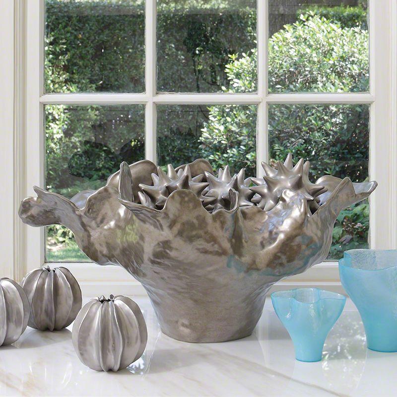 Global Views 1.10030 Meteor Large Decorative Ceramic Bowl in Silver
