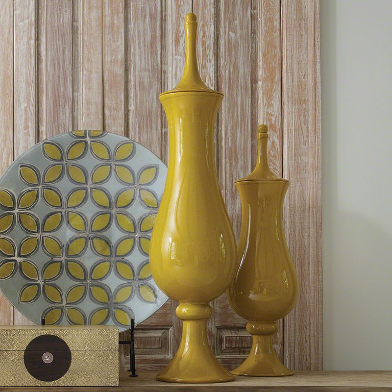 Global Views Yellow Tower Ceramic Jar - Available in 2 Sizes Small