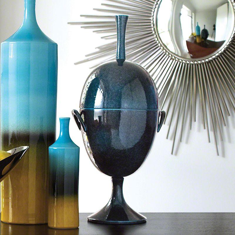 Global Views 1.10047 Ovoid Ceramic Jar with Handle Celestial Celestial
