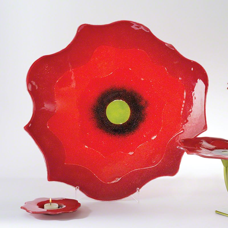 "Global Views 1.10324 22"" Poppy Plate Large Red Home Decor Decorative"