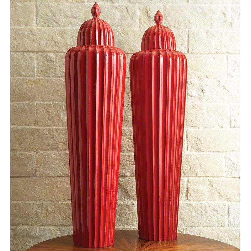 Global Views 1659 Fluted Temple Ceramic Jar Red Home Decor Canisters