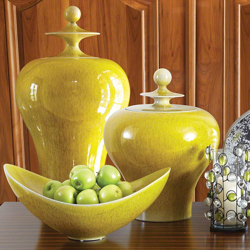 Global Views Citron Ceramic Jar - Available in 2 Sizes Large Jar Home