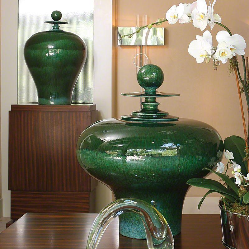Global Views 1897 Happy Temple Tall Ceramic Jar Emerald Home Decor