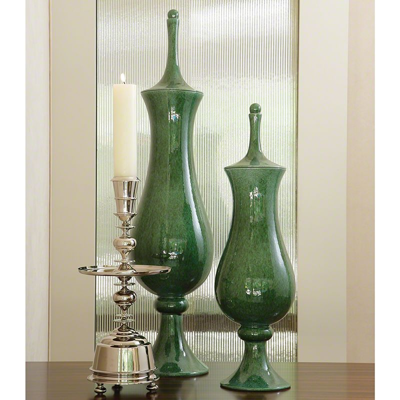 Global Views Green Tower Ceramic Jar - Available in 2 Sizes Small Jar