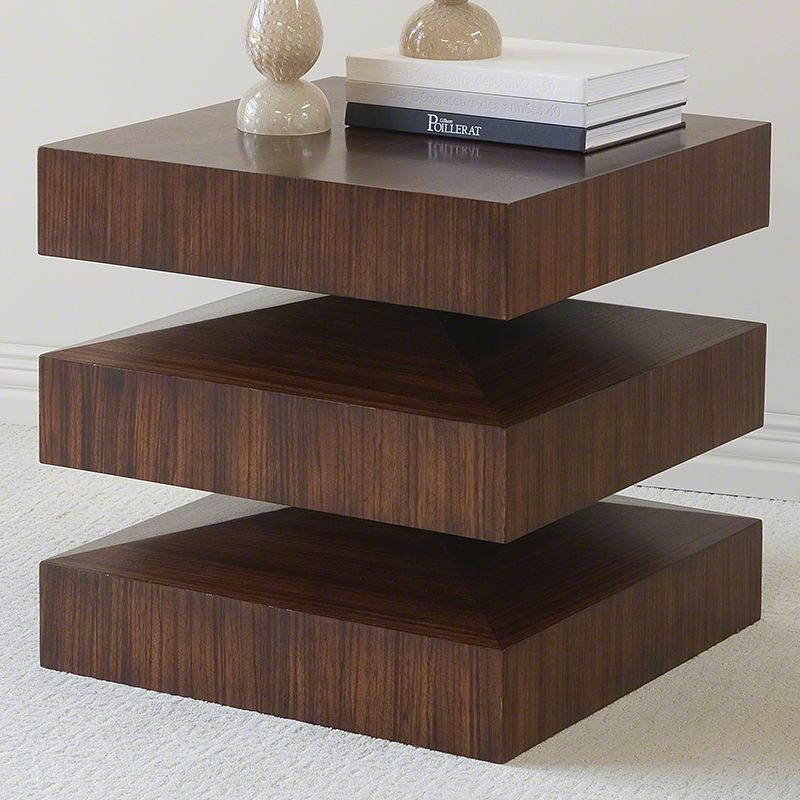Global Views 2263 In & Out End Table with Hand Finished Zebra Wood