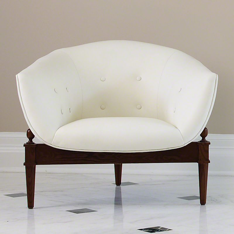 Global Views 2367 Mimi Chair with Cowhide Leather Cushion and Walnut