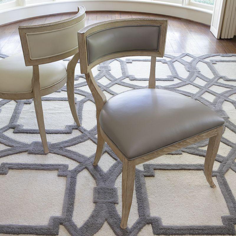Global Views 2426 Klismos Chair with Grey Cowhide Leather Grey