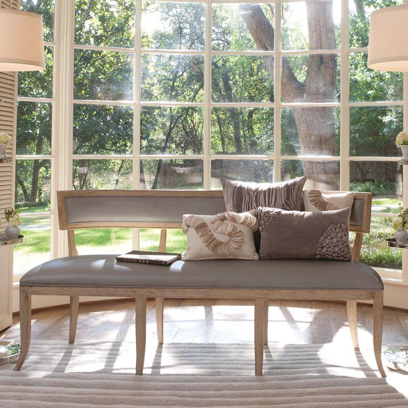 Global Views 2427 Klismos Bench-Grey Leather Grey Furniture Benches