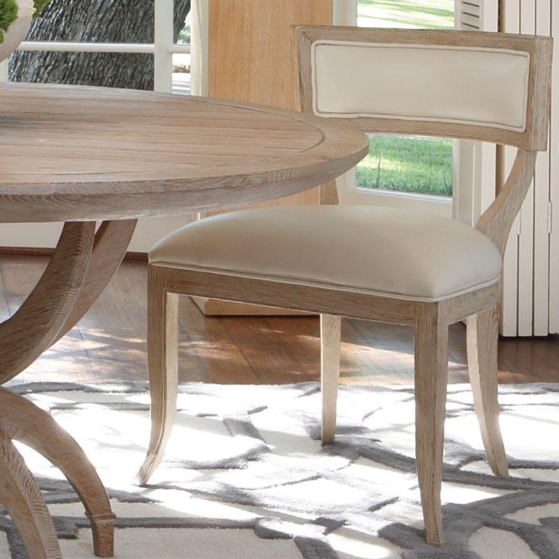 Global Views 2428 Klismos Chair with Ivory Cowhide Leather Beige
