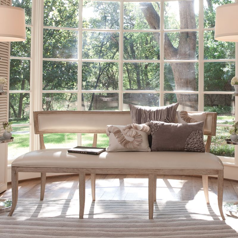 Global Views 2429 Klismos Bench-Beige Leather Beige Furniture Benches