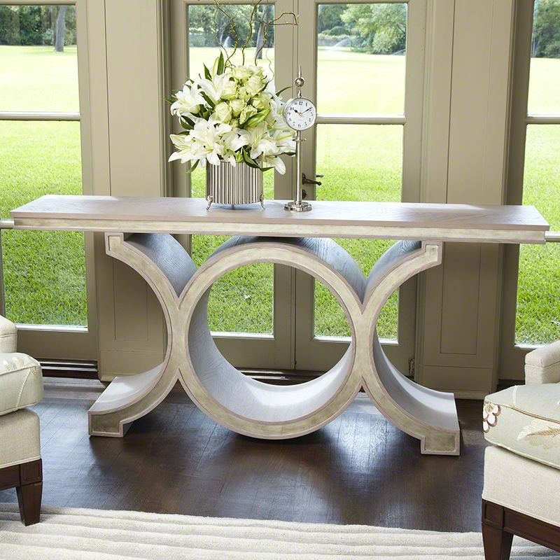 Global Views Link Console Table Wood Console Table Grey and Silver