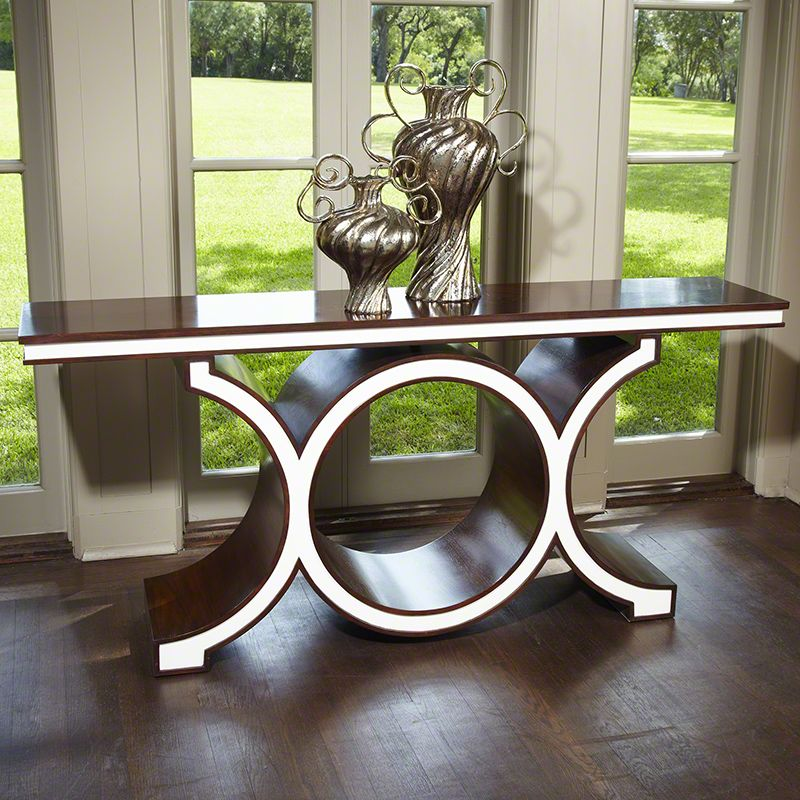 Global Views Link Console Table Wood Console Table Walnut and Ivory