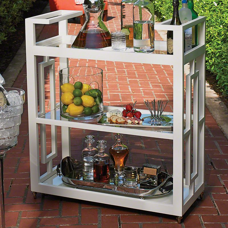 Global Views Grid Block Bar Cart Made from Poplar White Furniture Bar