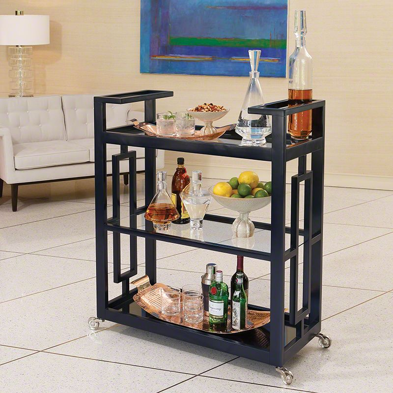 Global Views Grid Block Bar Cart Made from Poplar Blue Furniture Bar