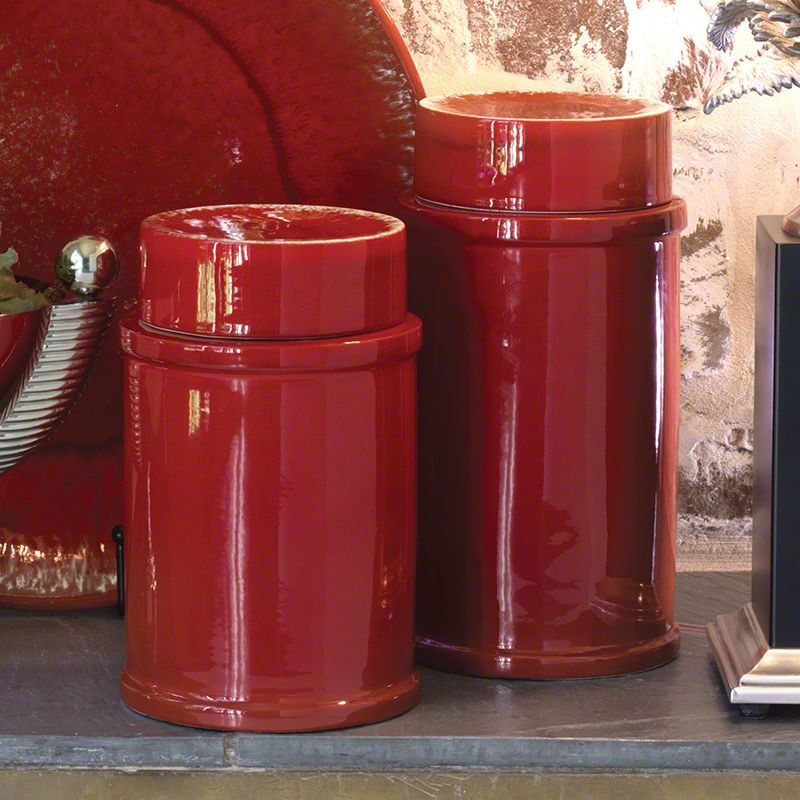 Global Views 3.31056 Zinger Ceramic Jar Large Red Home Decor Canisters