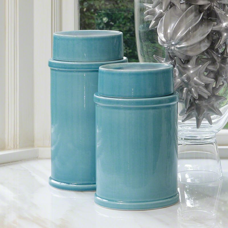 Global Views Chamomile Ceramic Jar - Available in 2 Sizes Large Jar