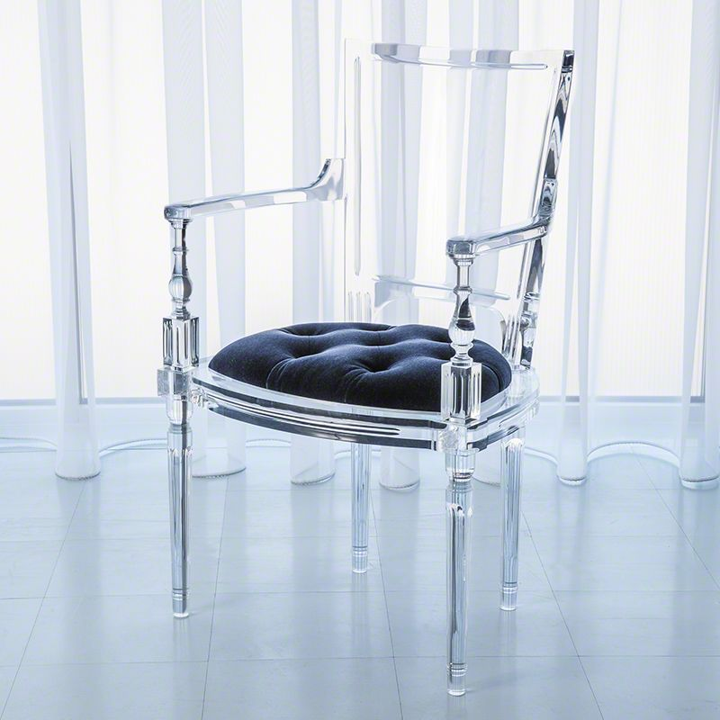 Global Views Marilyn Acrylic Arm Chair Italian Made Acrylic and Mohair