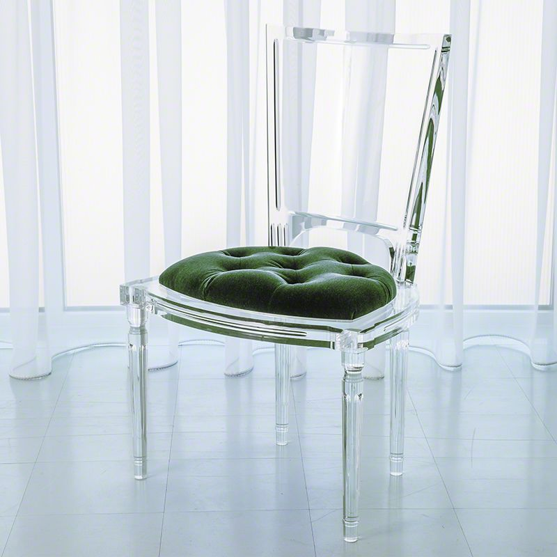 Global Views Marilyn Acrylic Chair Italian Made Acrylic and Mohair