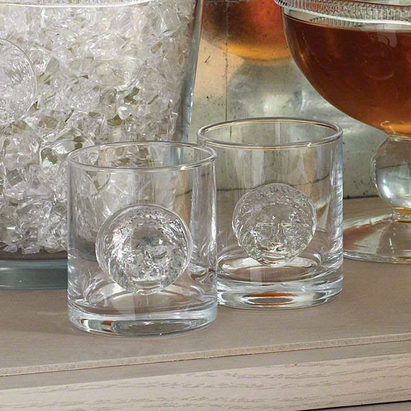 Global Views 6.60247 Set of 4 Double Old Fashion Leo Drinking Glasses