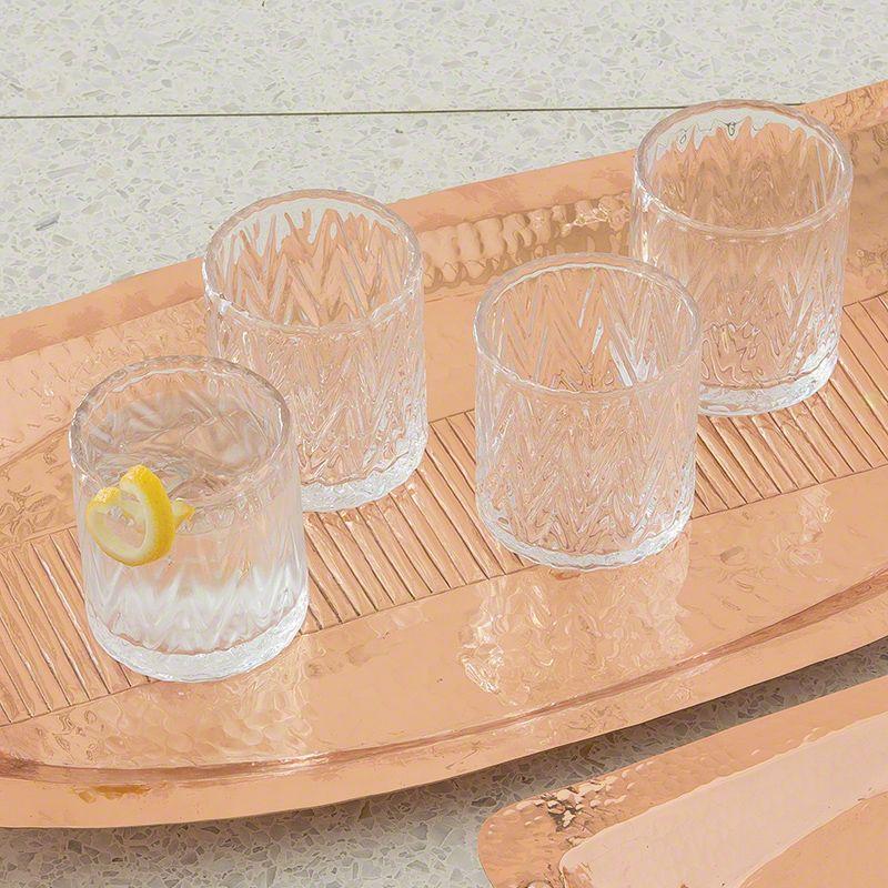 Global Views 6.60311 Set of 4 Herringbone Old Fashion Glasses Clear