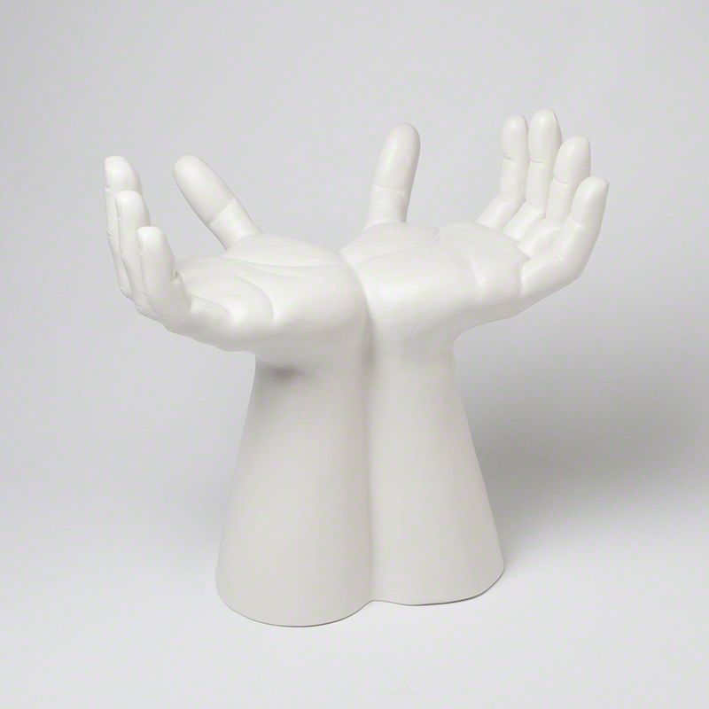 Global Views 7.10054 Hands Ceramic Art Stool White Furniture Stools