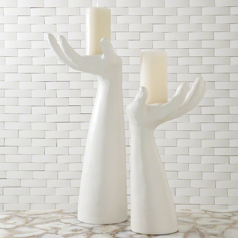 Global Views 7.10102 Palma Candleholder Right Hand Ceramic Statue