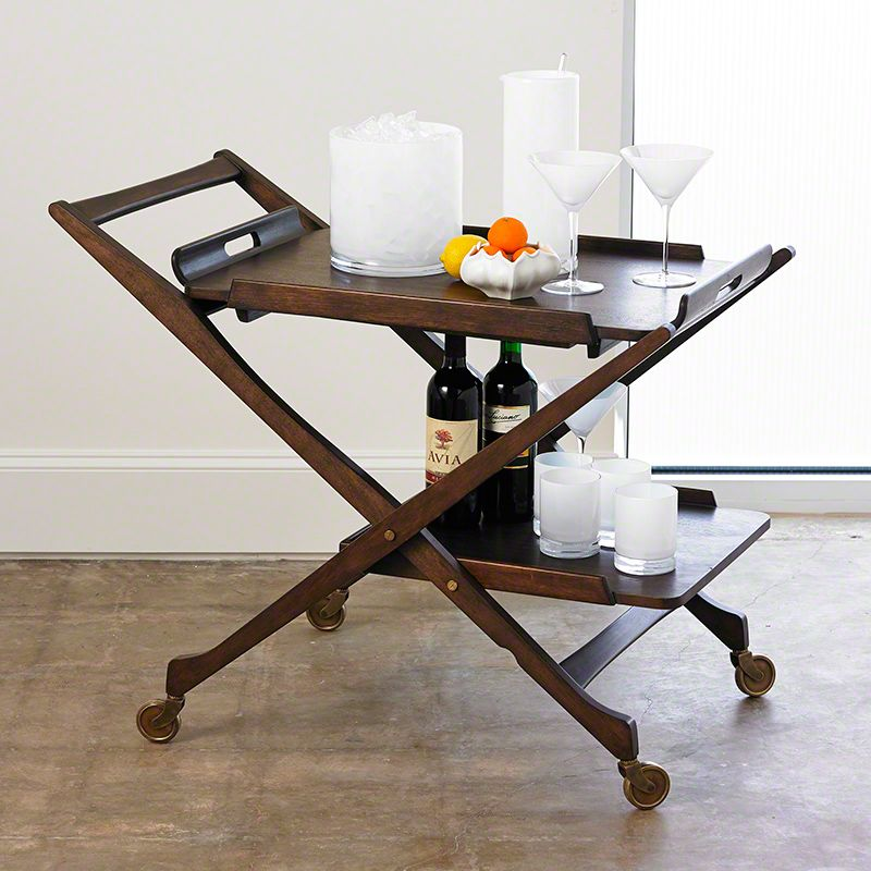Global Views 7.20075 Hemingway Bar Cart with Removable Top Tray Wood