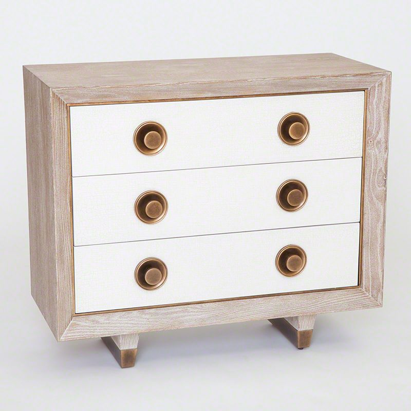 Global Views 7.20081 Geneva Three Drawer Chest White Oak Furniture