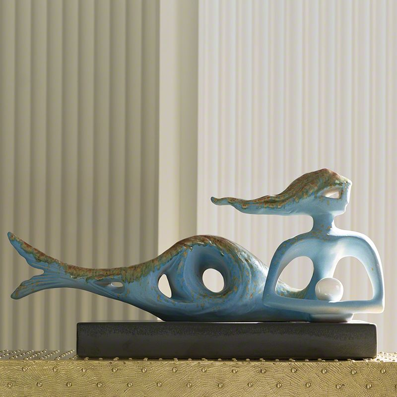 Global Views 7.30018 Cleodora Ceramic Statue Blue Home Decor Statues &