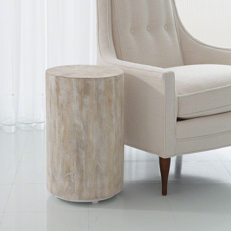 Global Views 7.90069 Driftwood Drum Table Sun Bleached Furniture End
