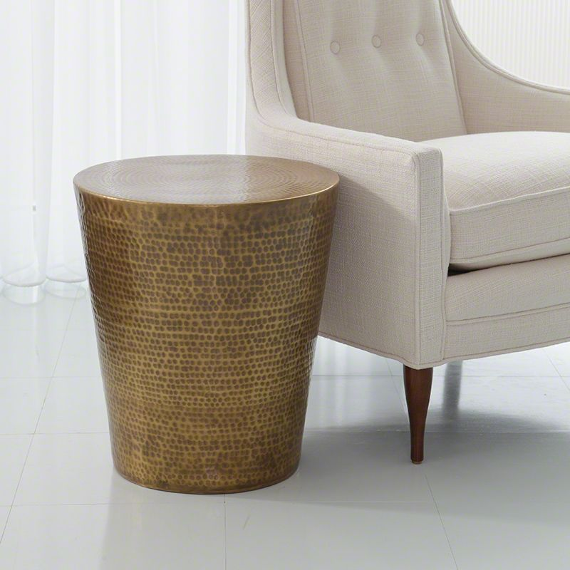 Global Views 7.90163 Izmir Hammered Side Table Antique Brass Furniture