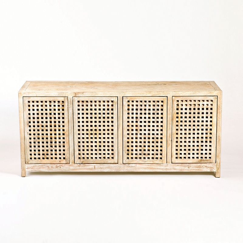 Global Views 7.90164 Driftwood Lattice Credenza Cream Furniture Media