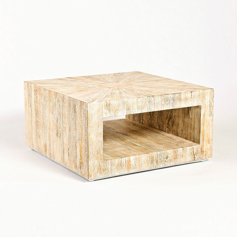 Global Views 7.90165 Driftwood Square Coffee Table Cream Furniture