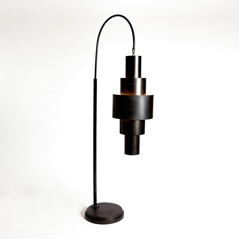 Global Views 7.90175 Babylon 2 Light Gooseneck Floor Lamp Bronze Lamps