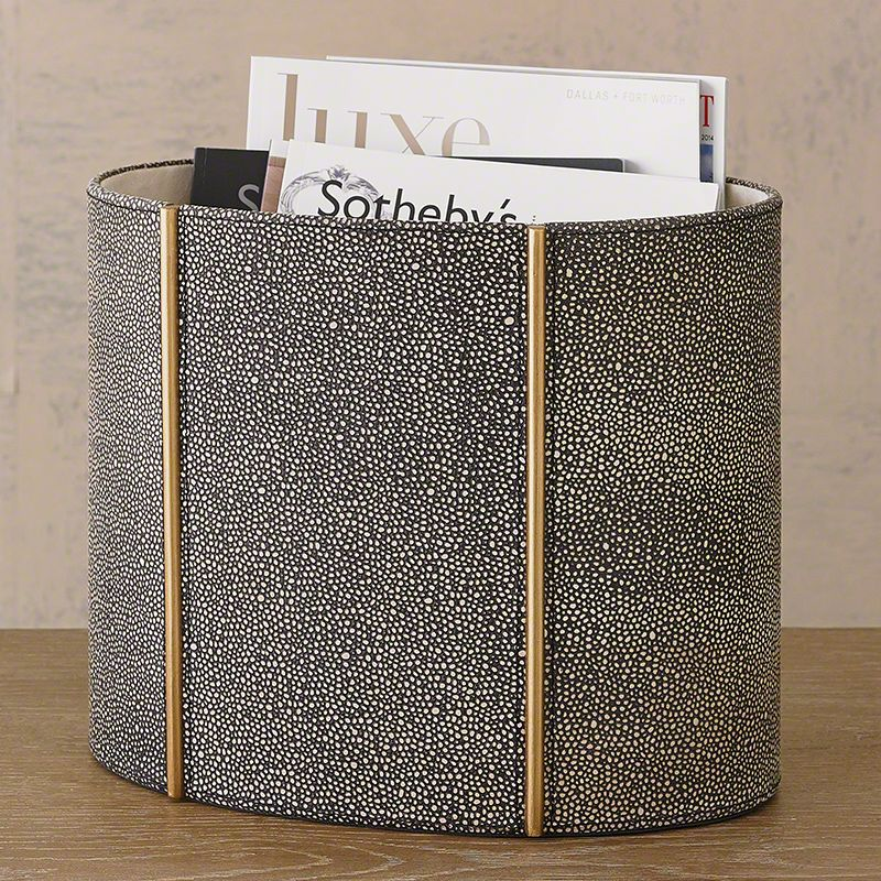 Global Views 7.90326 Churchill Oval Wastebasket Shagreen Leather Home