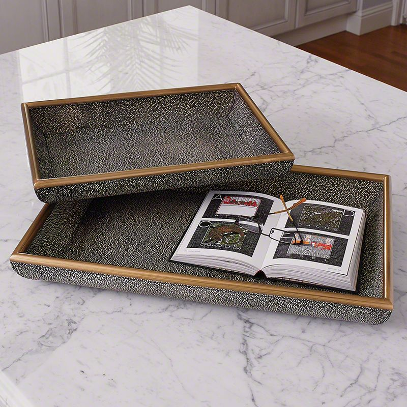 Global Views Shagreen Leather Tray - Available in 2 Sizes Large Tray
