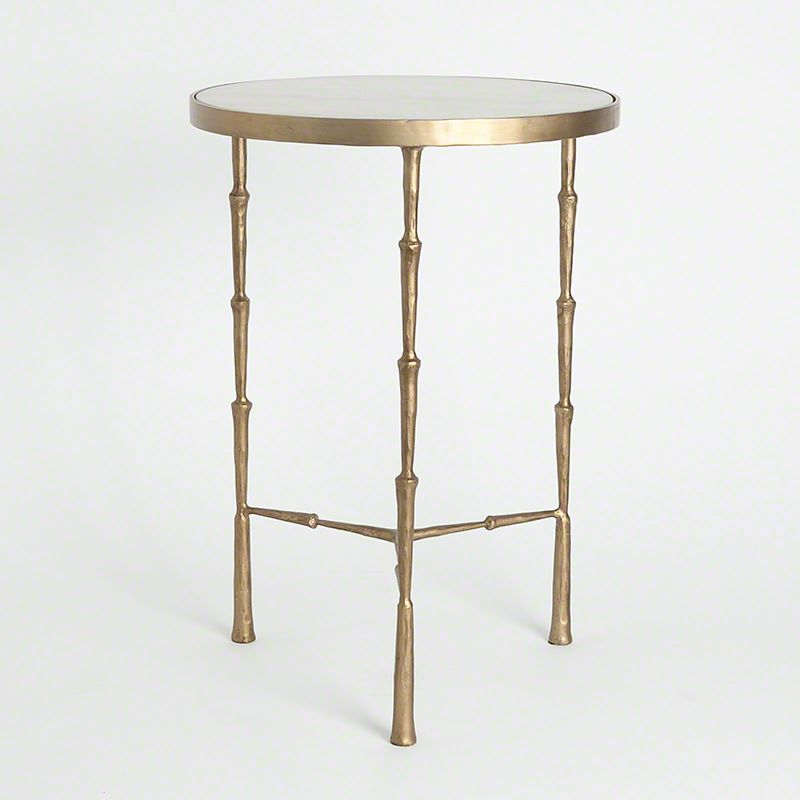 Global Views 7.90373 Spike Accent Table with White Marble White