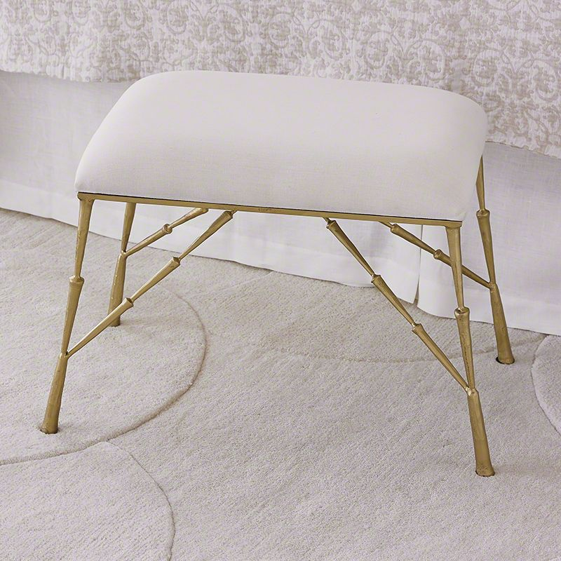 Global Views 7.90374 Spike Bench with Muslin Cushion Gold Furniture