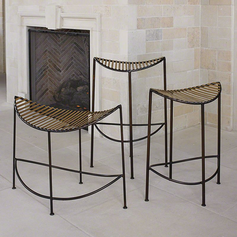 Global Views Moon Iron Stool - Available in 3 Sizes Tall Stool