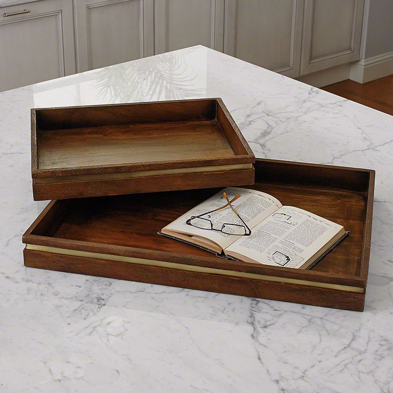 Global Views Larson Mango Wood Tray - Available in 2 Sizes Large Tray