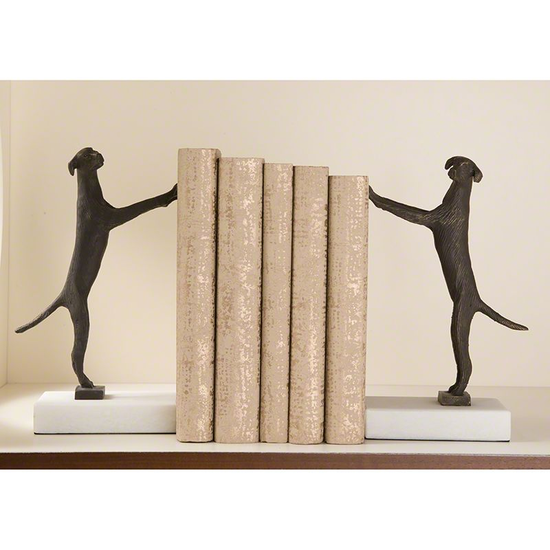 Global Views 8.80320 Pair of Golden Retriever Bookends Gold Home Decor