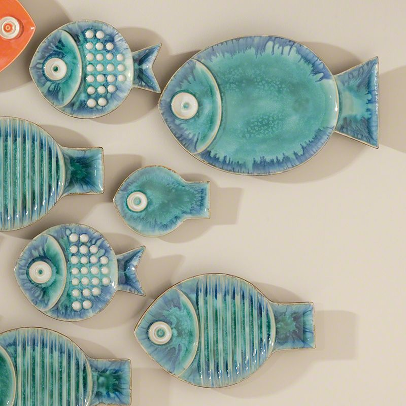 Global Views Blue Fish Ceramic Plate - Available in 4 Sizes Medium