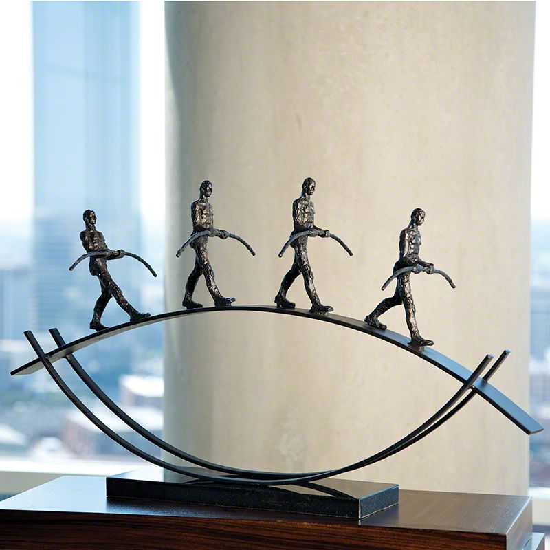 Global Views 8.81179 Balance Four Figures Walking Bronze Home Decor