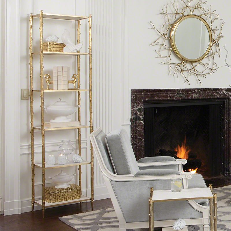 Global Views 8.82035 Arbor �tagère with White Marble Tops Brass