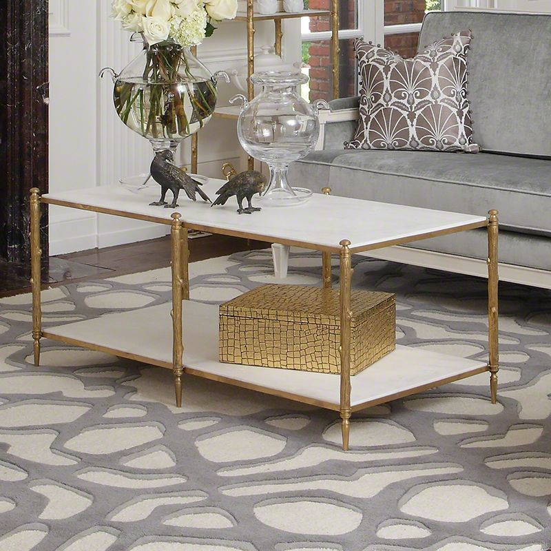 Global Views 8.82036 Arbor Cocktail Table with White Marble Brass